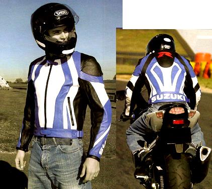 Blouson moto en cuir suzuki